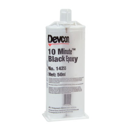 ITW Polymers Adhesives Devcon 10 Minute Epoxy Adhesive Black 50 mL Cartridge